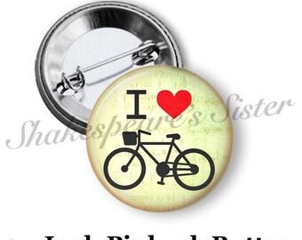"""Bicycle Pin - Pinback Button - 1.5"""" Pinback - Bicycle Pinback Button - Bicycle Gift"""