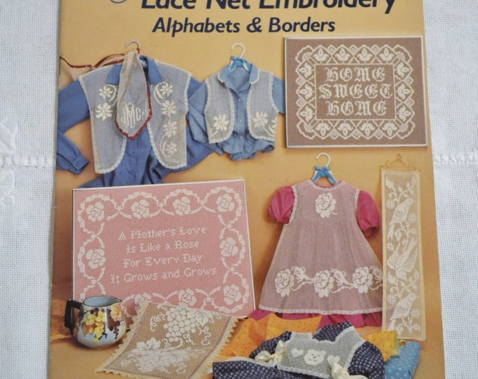 Lace Net Embroidery Alphabets and Borders Graph Designs Patterns Vintage Instructions DIY Panchosporch