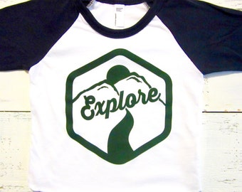 Little explorer baby and toddler baseball shirt. Baby & toddler t-shirt. American apparel. explore toddler t-shirt.