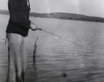 Vintage Photo..Gone Fishin' 1950's, Original Photo, Old Photo Snapshot, Vernacular Photography, American Social History Photo