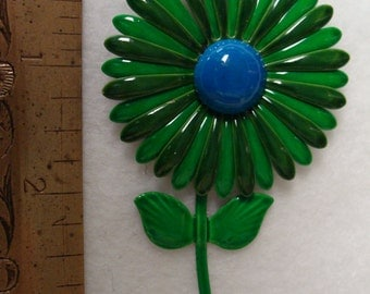 1960s enamel flower pin green and blue