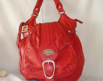 Pre-Owned Idesign Red Scarlet Leather Bag********.