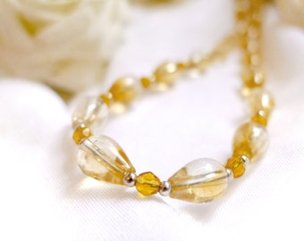 Natural citrine necklace with glass beads and 925 sterling silver  *Free worldwide shipping*