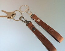 Personalised Leather Keychain / Free personalisation/ Custom Leather keyring / Brown keyring / Anniversary gifts