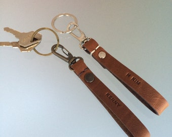 Personalised Leather Keychain/ Free Personalisation/ Custom Leather Keyring / Brown Keyring/ Black Keyring/  Anniversary gifts