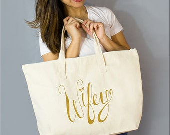 "Gold Wifey Large Zip Tote: 100% Natural Cotton Canvas 22""W x 15""L x 5""D Interior Zippered Pocket- By Alicia Cox/ Ellafly"