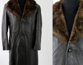 On Sale Vintage Mens Brown Leather & Real Fur Collar Pimp Rocker Coat 44