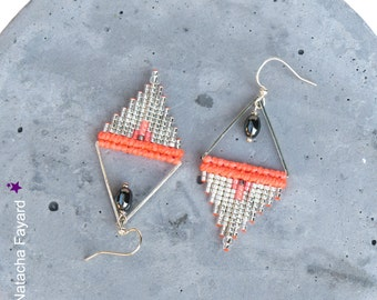 Neon coral - Macrame and miyuki delica woven earrings - Triangle shapes - Silver plated seed beads - Boho chic designer jewelry - Handmade
