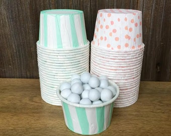 48 Mint and Peach Stripe and Polka Dot Candy Cups--Mint Nut Cups--Wedding Supply--Baby Shower--Birthday Party--Peach Portion Cup
