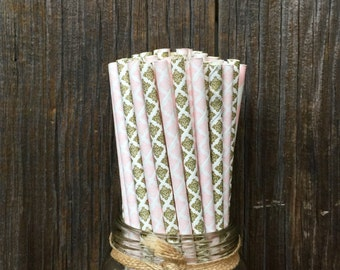 100 Gold and Pink Damask Paper Straws- Wedding, Bridal or Baby Shower, Birthday Supply, Free Shipping!