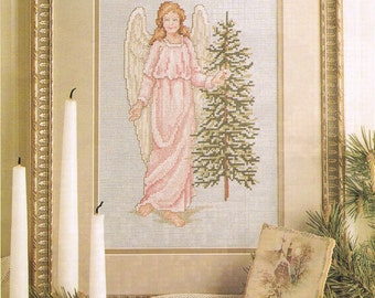 CROSS STITCH PATTERN  - Christmas Angel Of Peace Counted Cross Stitch - Angel Cross Stitch - Christmas Tree