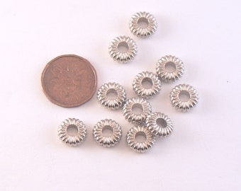 25 PCS -  10 mm Plastic Corrugated Spacer Beads Silver Finish Metalized Large Hole 10mm - Plastic donut beads #B-28-03