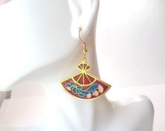 Red Fan Earrings Cloisonne Earrings Gold Fan Earrings Asian Fusion Oriental Style Hand Fan Earrings Blue Pin Fan Vintage Earrings Jewelry