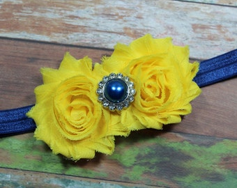Assorted Blue and Yellow Shabby Chic Chiffon Flowers Custom Headbands with Acrylic Buttons on Stretchy Elastic
