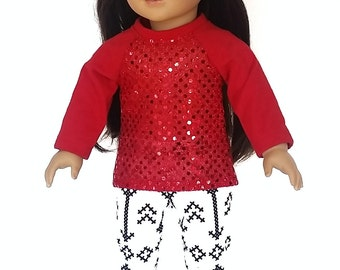 18 inch doll clothes, fall outfits, red glitter tunic and white leggings, american made, girl doll,