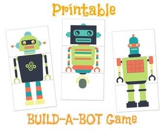 Robot Printables, Robot Party, PRINTABLE, Robot Game, Robot Birthday Birthday Printables, Labels,  Party Game, Baby Shower, Robot Theme, Kid