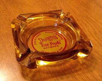 Vintage Amber Glass Denny's Ashtray
