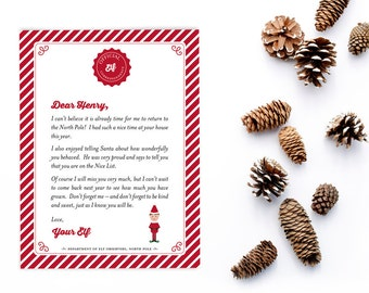 Personalized Elf Goodbye Letter, Christmas Elf Farewell Letter, Printable Note