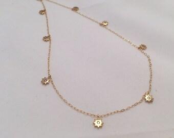 Stars necklace Gold Diamond Choker gold choker Tiny star charm Dainty gold choker Dangling choker Shaker choker, Gold stars