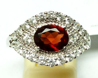 Stone Ring- 925 Sterling Silver Ring Jewelry / Garnet Gemstone Ring / Prong Set Handmade Ring / with CZ
