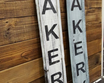 Wood Sign - Kitchen Sign - Large Bakery sign on reclaimed wood - Fixer Upper style