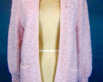 Vintage 80s PINK BOUCLE Knit SWEATER Jacket Wool Blend Padded Shoulders Retro Apres Ski
