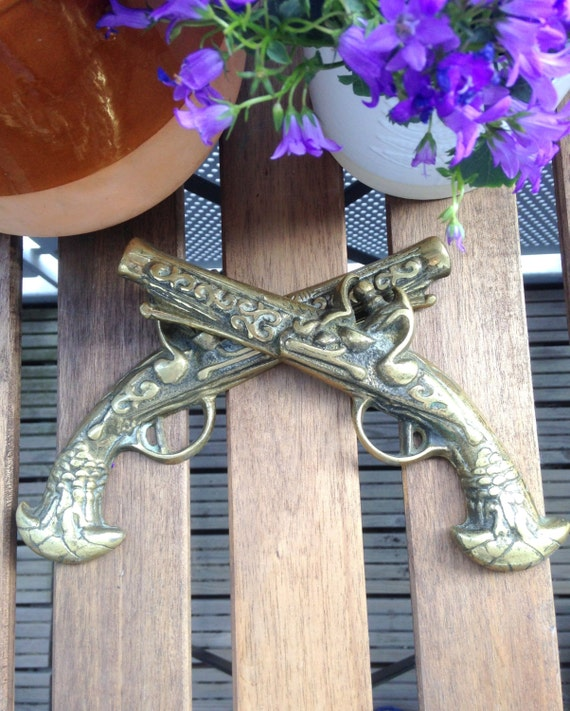 Pair of Vintage Solid Cast Brass Flintlock Pistols for Decoration or Wall Hanging