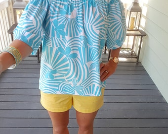 Women's top the Derby top in aqua floral off the shoulder top custom made by Collyn Raye