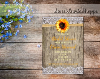 Sunflower Bridal Shower Invitation, Rustic Wood And Lace Invitation, Country Bridal Shower Invitation, Sunflower Cottage Chic Invitation