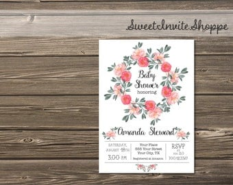 Peony Baby Shower Invitation, Floral Girls Baby Shower Invitation, Watercolor Pink Floral Baby Girl Shower Invite, Bridal Shower, DIY