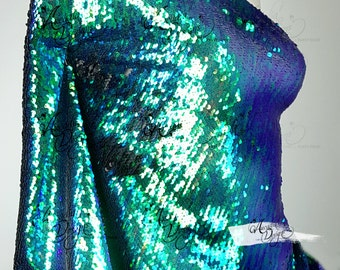 Mermaid Scale Sequin Fabric by Yard. Peacock Blue Green Sparkle Dangle 5mm Sequined mesh for DIY Bridal Gown Prom Evening dress Costume