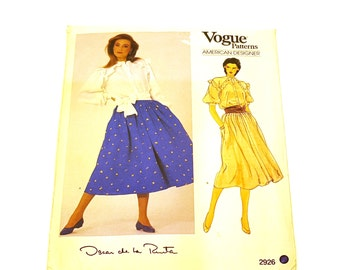 Vogue 2926, Oscar de la Renta, American Designer, Couture Pattern, Size 12, Vogue Pattern, Skirt & Blouse, Misses Pattern