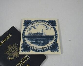 Vintage Cruise Souvenir Coaster Holland America Line ss Volendam II Blue Delft Tile