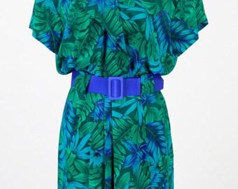 Vintage 1980s Green and Blue Wrap Dress w/ Belt Size M