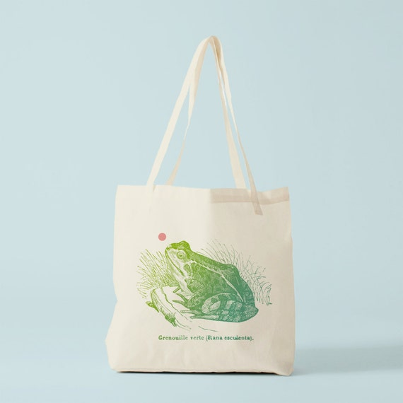 Tote Bag Frog, canvas bag, groceries bag, laptop bag, yoga bag, cotton bag, frog bag, novelty gift, gift for coworker, bambouchic paris.