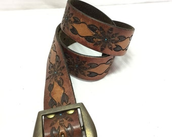 Tooled Leather Belt w/ Buckle, Brown, Blue, Free shipping