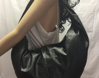 Large, Hobo Bag, Black, Leather, Shoulder Bag, bag, Purse, w/ Coin Purse, Free US shipping