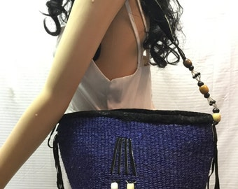 Sisil Bag, Leather Beaded Trim, Black, Blue,Shoulder Bag, Purse, Free US shipping