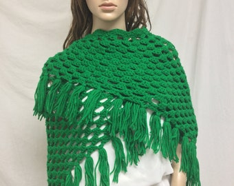 knit shawl, Green, Knit wrap, Fringed Wrap