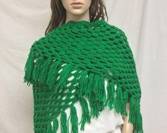 Free Ship,knit shawl, Green, Knit wrap, Fringed ,Wrap