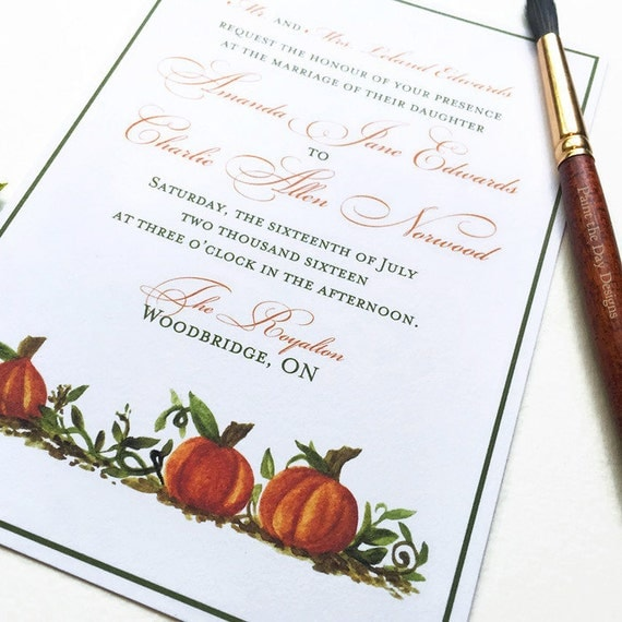 Fall wedding invitation pumpkin patch watercolor for Fall wedding invitations with pumpkins
