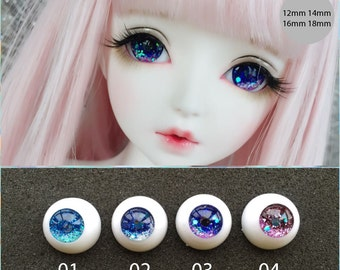 glitter sparkle anemi pink blue sky red acrylic BJD doll eyes 12mm 14mm 16mm 18mm