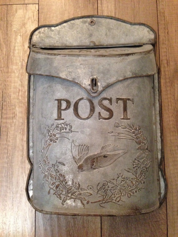 Galvanized Wall Mounted Post Mailboxvintage Chic By