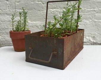 Sale, Metal Box, rusty metal, repurposed, flower planter, organizer box, Farmhouse decor, industrial