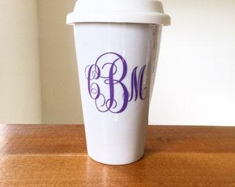 Monogrammed travel coffee mug custom travel latte mug