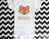 Baby boy or girl coming home outfit Woodland theme onepiece Personalized Gold  and orange fox baby shower gift monogrammed newborn neutral