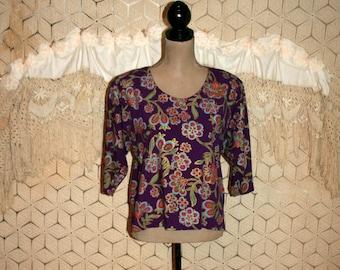 Womens Blouse 90s Grunge Rayon Shirt Purple Floral Bohemian Top Small Medium Boxy Top Hippie Boho 1990s Vintage Clothing Womens Clothing