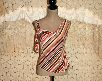 Edgy 80s Clothing Womens Tops Sleeveless Club Kid Asymmetrical Diagonal Striped Top Vintage Clothing 1980s Disco Club Small Womens Clothing