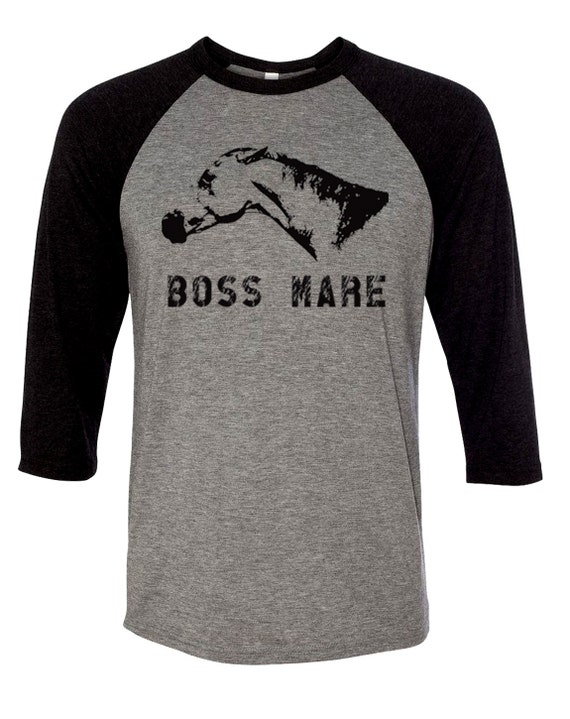 Boss Mare Baseball Shirt, Funny Screen printed Horse Unisex Fit -3/4 Long Sleeve Equestrian Clothing, Riding Clothes, Gray/Black