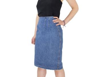 80's Vintage High Waist Denim Pencil Skirt | Frederick's of Hollywood Jean Skirt | Size 0 / 2 | Grunge Punk Hipster Boho Women's Clothes